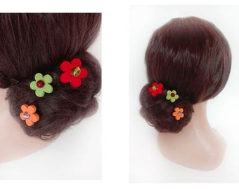 Flower hair pin wood bun color Hat woman wedding ceremony hair stick