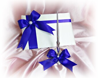 Royal blue wedding guest book and pen set.  Wedding accessories, paper goods.