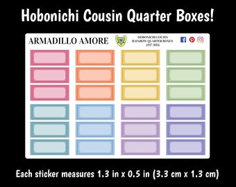 303 | Hobonichi Cousin Rainbow Quarter Boxes {24 Fancy Matte or Glossy Planner Stickers}