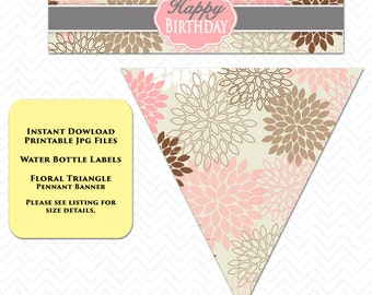 Flower Banner Water Labels Flower Party Printable Set Pink Triangle Floral Printable Decorations Water Label Banner Pennant INSTANT DOWNLOAD