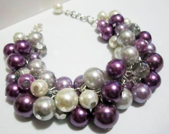 Shades of Purple Pearl Bracelet, Lavender, Plum Bridesmaid Bracelet, Chunky Cluster Bracelet, Bridesmaid Gift, Bridal, Wedding Jewelry