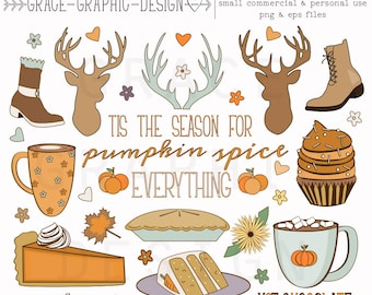 Fall Thanksgiving CLIPART, Autumn clipart, nature clipart, digital illustrations, instant download eps FALL clipart set, digital paper pack