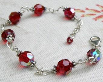 Red Bracelet, Garnet Crystal, Sterling Silver, Swarovski Wedding Bridesmaid Gift, Handmade Jewelry, January Birthday, Birthstone