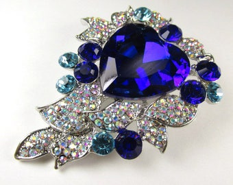 Cobalt Blue, Turquoise, Crystal AB Large Crystal 2.75 Inch Heart Brooch in Silver Setting