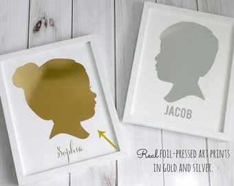 CUSTOM Silhouette Print with Gold or Silver Foil - made from YOUR PHOTO - by Simply Silhouettes