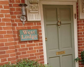 """House Sign Name sign Traditional in Oak and Copper, 3""""/75 mm  high numbers in Garamond font, shipped worldwide g"""