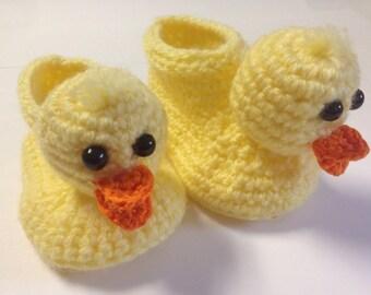 Duck baby booties