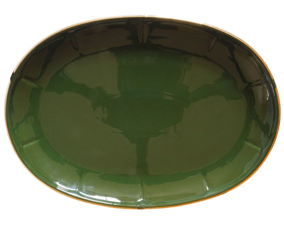 Apilco green and gold oval steak platter plate 12 by 8 5/8