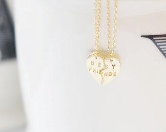 Gold Best Friends Heart Necklace Set ,best friend necklace, Split heart necklace, Friendship necklace, Everyday necklace