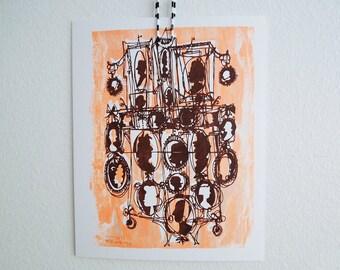 KAMEEN #133 | Cartoon Gesichter in elektrische orange und dunkelbraun, ein von einer Art Siebdruck (8 x 10)