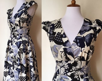 Blue Butterfly Retro Dress Small and Medium