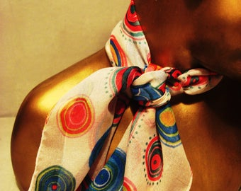 Vintage 1980s Multicolored Circles In Bloom Scarf