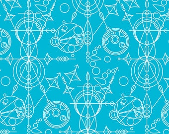 By The HALF YARD - Sun Print by Alison Glass for Andover Fabrics, Pattern #7752-T Mercury, White Geometry drawings on Turquoise Blue