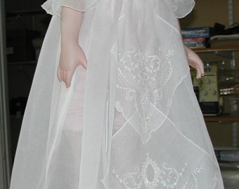 No. 500 White Swiss Cotton Organdy Christening Gown, Dress Hand Embroidery and Smocked With Over 800 SWAROVSKI CRYSTALS