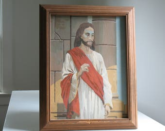 Vintage Paint by number Jesus / framed religious art / Christ painting / kitsch retro home decor wall hanging
