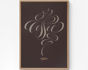Coffee Lettering A2 limited edition screen print, hand-printed in 2 colours