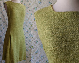 1960s sage green tweed shift dress