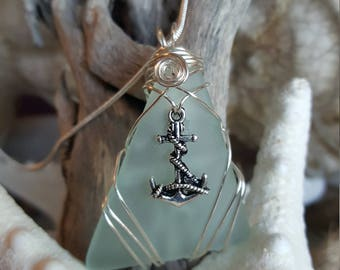 Blue seaglass wire wrapped with anchor necklace