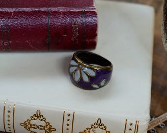 Purple Hand Painted Ring, Floral Ring, Ring, Enamel Daisy Ring, Gifts for Her, Festival Accessories, Copper Ring, Bohemian