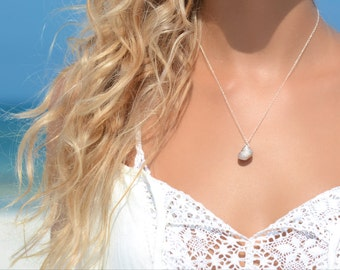 Seashell Necklace Seashell Pendant Beach Necklace Beach Boho Seashell Jewelry Seashell Wedding Silver Sea Shell Necklace Gift for Her