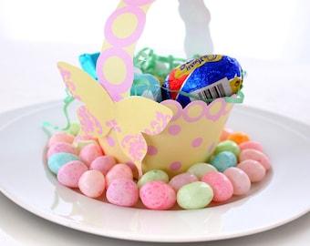 Buttercup and Candy Pink Printable Polka Dot Basket