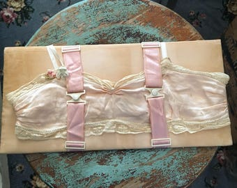Its As Delicate As It Is Tiny Antique Bra Displayed On Vintage Lingerie Board