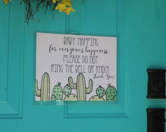 Child Napping - Nap time - Do Not Disturb Sign - Cactus