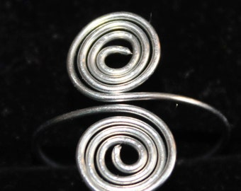 Double Swirl Silver Ring Size 9