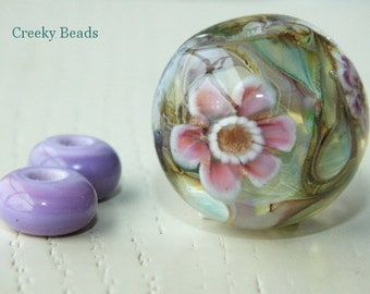 "Handmade Lampwork Focal bead - ""Lilac and Pink!"" - Creeky Beads SRA"