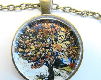MULBERRY TREE Necklace -- Vincent van Gogh art,  Autumn shades of gold yellow and orange, Friendship token for nature lovers and artists