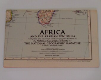 """National Geographic Map March 1950 - Africa and the Arabian Peninsula - Home Decor - Wall Decor - Cartography - Antique Wall Map - 31""""x28.5"""""""