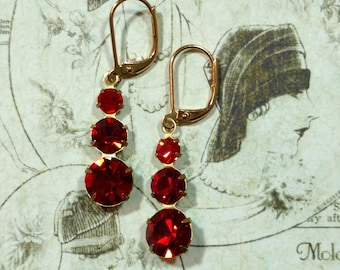 Red Flapper Earrings - Lady Mary - Downton Abbey Style Jewelry - 1920s Jewelry - Art Deco Jewelry - Art Deco Earrings - Womens Jewelry