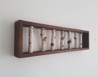 Large White Birch Wall Art, Birch Wall display shelf, Framed Birch Art, Natural Log, Wall Display, Modern Rustic Wall Decor, Wall Hanger