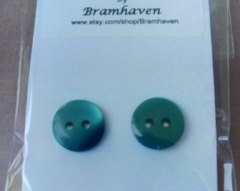 Up cycled 10mm dark green vintage button stud earrings