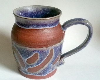 Purple and Blue Mug Made with Red Stoneware Clay - Wheel Thrown Pottery - Holds 18 ounces or 2 1/4 cups