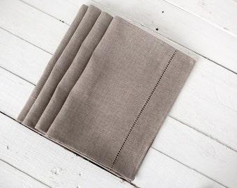 Grey linen napkins - hemstitch napkins set of 6 - Easter napkins - dinner napkin cloths - organic napkins - Easter table decor