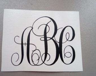 Personalized Vinyl Monogram Decal. Yeti Decal / Monogram Decal / Yeti Tumbler Decal / Car Decal / Yeti Monogram