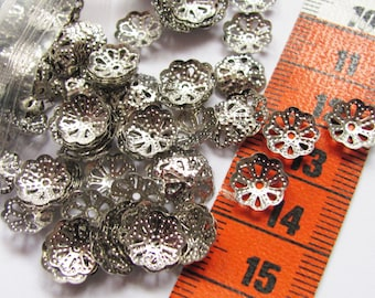 405 caps silver 9mm flowers