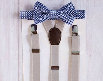 Boys Blue Bow Tie and Grey Suspenders, First Birthday Boy, Boys Cake Smash Outfit, Boys Clothes, Ring Bearer Outfit, Boys Formal Wear