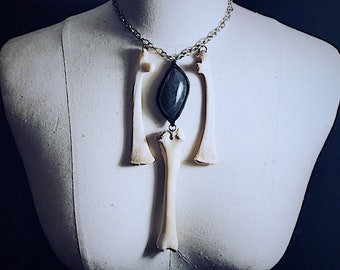 Real bone and labradorite necklace