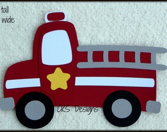 Die Cut Fire Truck Premade Paper Piecing Embellishment for Card Making Scrapbook or Paper Crafts