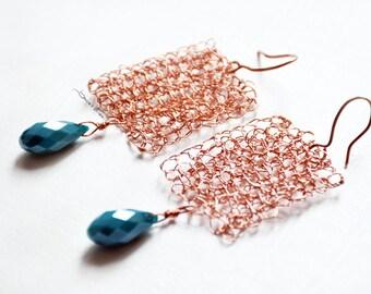 Copper crochet earrings