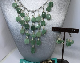 Green aventurine gemstone chain necklace and earring set