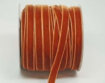 Velvet Woven Ribbon Trim -- 3/8 inches -- Rust Orange