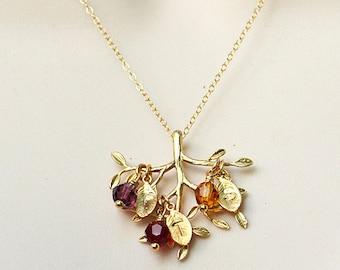 Grandma gift, Family Tree Necklace, tree of life necklace Personalized Grandma Necklace Mothers Birthstone Necklace Mothers day gift for mom