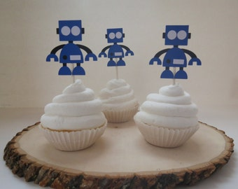 Robot and Gears - Cupcake Toppers - Set of 12 - Blue
