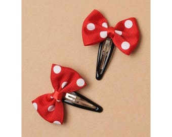 Red spotty bow ribbon hair clips, Girls red hair clips , red bow hair clip, set of 2 spotty hair clips