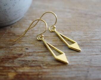 Gold Geometric Diamond Dangle Earrings, Gold Diamond Earrings, Triangle Earrings, 925 Silver Gold Plated, Simple, Modern Jewelry, Everyday
