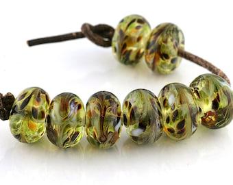 Grasslands Handmade Glass Lampwork Beads (8 count) by Pink Beach Studios - SRA (1784)