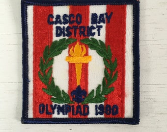 1980 Boy Scouts of America Casco bay district Maine torch Olympiad patch unused
